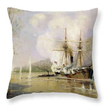 The Russian Destroyer Shutka Attacking A Turkish Ship On The 16th June 1877 Throw Pillow by Aleksei Petrovich Bogolyubov