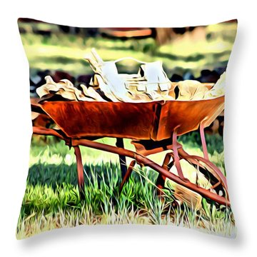 Throw Pillow featuring the photograph The Rusted Wheelbarrow by Beauty For God