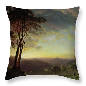 The Sacramento River Valley  Throw Pillow by Albert Bierstadt