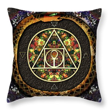 Throw Pillow featuring the digital art The Sacred Alchemy Of Life by Iowan Stone-Flowers
