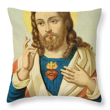 The Sacred Heart Throw Pillow by French School