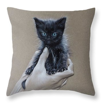 Throw Pillow featuring the drawing The Safest Place To Be by Elena Kolotusha