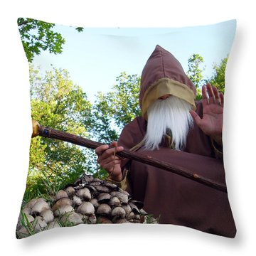 The Sage With Shrooms Throw Pillow