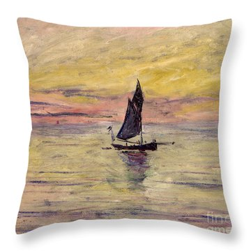 The Sailing Boat Evening Effect Throw Pillow