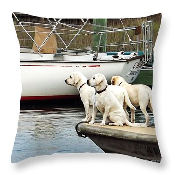 The Sailing Club Throw Pillow by Christy Ricafrente