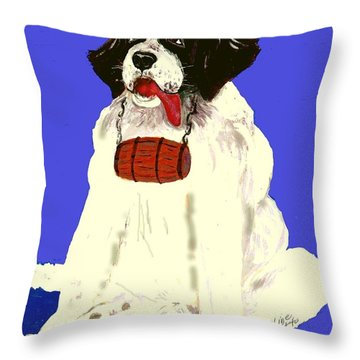 Throw Pillow featuring the painting The Saint by Desline Vitto