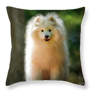 The Samoyed Smile Throw Pillow by Lois Bryan