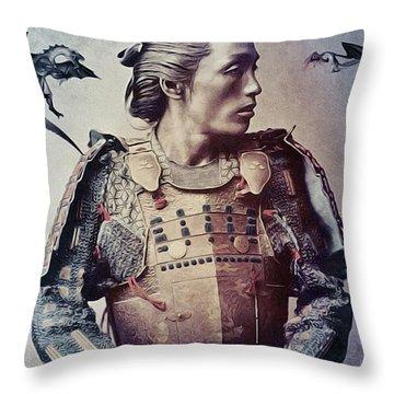 The Samurai And The Dragons Throw Pillow