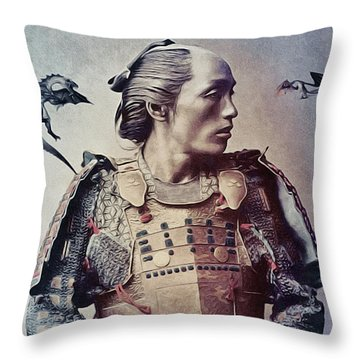 The Samurai And The Dragons Throw Pillow