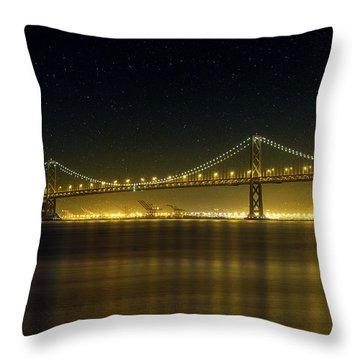 The San Francisco Oakland Bay Bridge At Night Throw Pillow