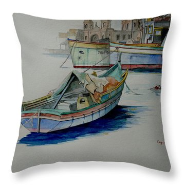 Throw Pillow featuring the painting The San George by Ray Agius