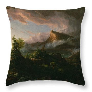 The Savage State Throw Pillow by Thomas Cole