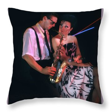 The Sax Man And The Girl Throw Pillow