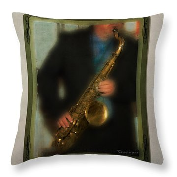 The Sax Player Throw Pillow
