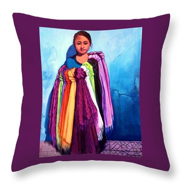 The Scarf Seller Throw Pillow