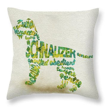 Throw Pillow featuring the painting The Schnauzer Dog Watercolor Painting / Typographic Art by Ayse and Deniz