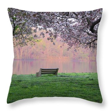 Throw Pillow featuring the photograph The Schuykill River At Kelly Drive In The Spring by Bill Cannon