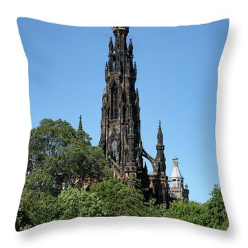 Throw Pillow featuring the photograph The Scott Monument In Edinburgh, Scotland by Jeremy Lavender Photography
