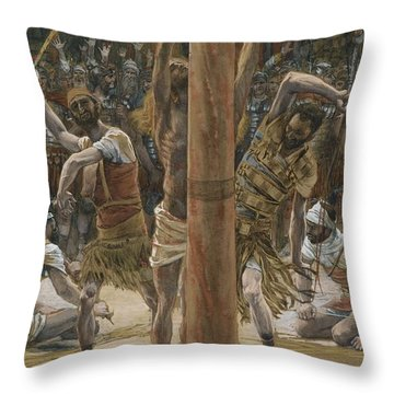 The Scourging On The Back Throw Pillow by Tissot