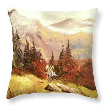 Throw Pillow featuring the painting The Scout by Alan Lakin