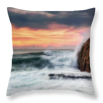 The Sea Against The Rock Throw Pillow