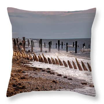 The Sea And Groynes Throw Pillow