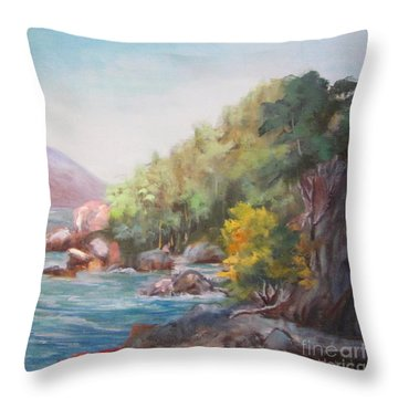 The Sea And Rocks Throw Pillow
