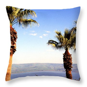 The Sea Of Galilee From The Mount Of The Beatitudes Throw Pillow by Thomas R Fletcher