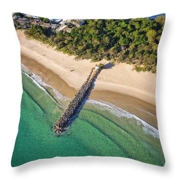 The Sea Wall Near Noosa Main Beach Throw Pillow