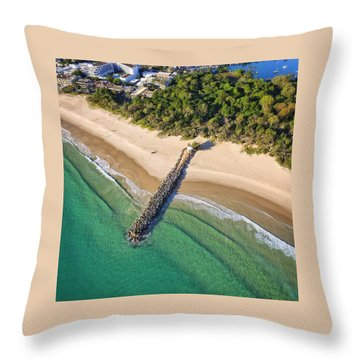 The Sea Wall Near Noosa Main Beach Throw Pillow
