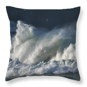 The Seagulls And The Wave Throw Pillow