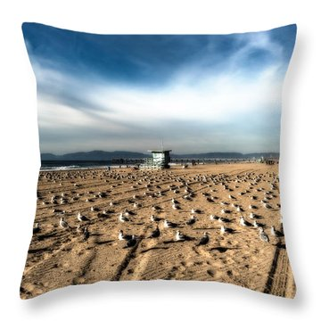 Throw Pillow featuring the photograph The Seagulls With Lifeguard Hut by Michael Hope