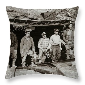The Search And Retrieval Team After The Knox Mine Disaster Port Griffith Pa 1959 At Mine Entrance Throw Pillow