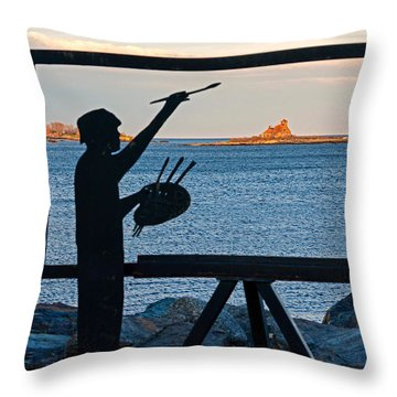 Throw Pillow featuring the photograph The Seascape Artist by Nancy De Flon