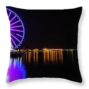 The Seattle Ferris Wheel Throw Pillow