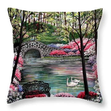 The Secret Azalea Garden Throw Pillow