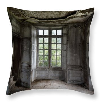 The Secret Stairs To Heaven - Abandoned Building Throw Pillow by Dirk Ercken