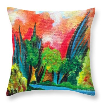 The Secret Stream Throw Pillow by Elizabeth Fontaine-Barr