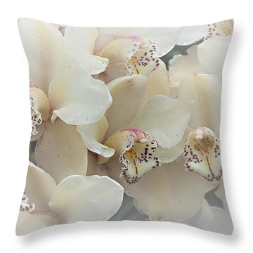 The Secret To Orchids Throw Pillow by Sherry Hallemeier