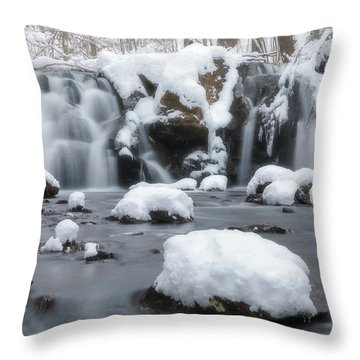The Secret Waterfall In Winter 1 Throw Pillow