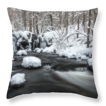 The Secret Waterfall In Winter 2 Throw Pillow