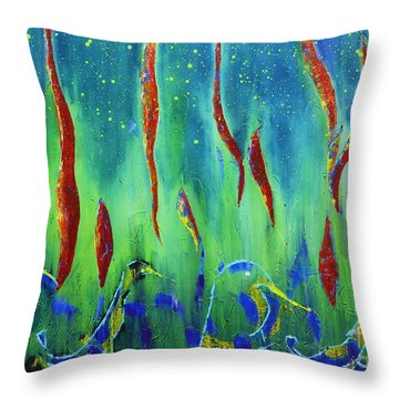 Throw Pillow featuring the painting The Secret World Of Water And Fire by AmaS Art