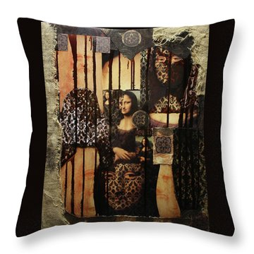 The Secrets Of Mona Lisa Throw Pillow by Michael Kulick