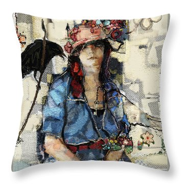 Throw Pillow featuring the mixed media The Seer by Carrie Joy Byrnes