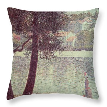 The Seine At Courbevoie Throw Pillow by Georges Pierre Seurat