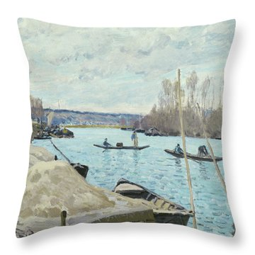 Boat Along The River Throw Pillows