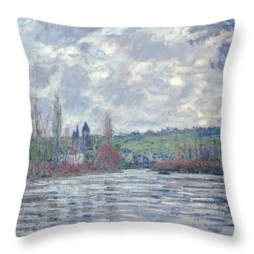 The Seine In Flood At Vetheuil Throw Pillow