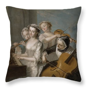 The Sense Of Hearing Throw Pillow by Philippe Mercier