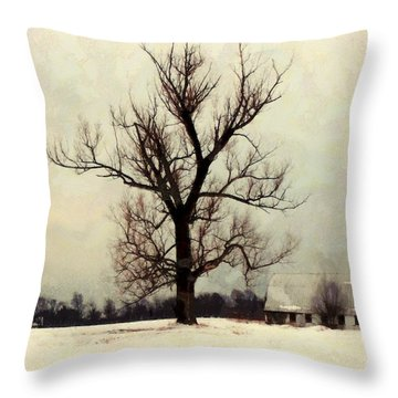 Throw Pillow featuring the photograph The Sentinel - Lone Winter Tree by Janine Riley