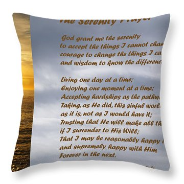 The Serenity Prayer Throw Pillow by Barbara Snyder